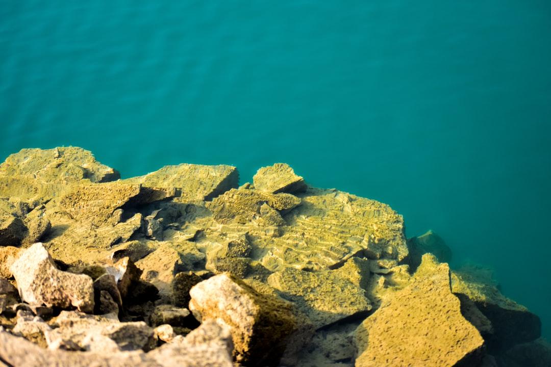 A close up of a rock near the ocean